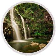 A Waterfall In Hana, Maui Round Beach Towel