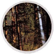 A Waterfall Tumbles Through The Forest Round Beach Towel