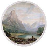A Welsh Valley, 1819 Round Beach Towel