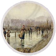 A Wet Day In Whitby Wc On Paper Round Beach Towel