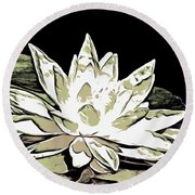 A  White Water Lily Round Beach Towel