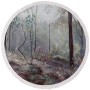 A Wickham Misty Morning Round Beach Towel