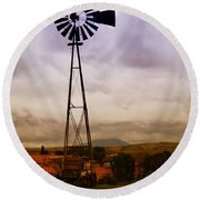 A Windmill And Wagon  Round Beach Towel