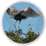 A Winged Stance Round Beach Towel