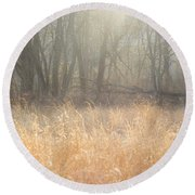 A Winter Glow Round Beach Towel