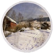 A Winter Landscape Lillehammer Round Beach Towel by Peder Monsted