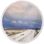 A Winter Landscape With A Horse And Cart Round Beach Towel