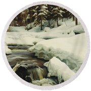 A Winter Landscape With A Mountain Torrent Round Beach Towel