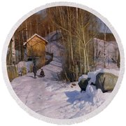 A Winter Landscape With Children Sledging Round Beach Towel by Peder Monsted