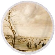 A Winter Landscape With Townsfolk Skating And Playing Kolf On A Frozen River Round Beach Towel by Aert van der Neer