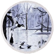 A Winter Reunion Round Beach Towel