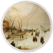 A Winter River Landscape With Figures On The Ice Round Beach Towel