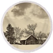 A Winter Sky Sepia Round Beach Towel