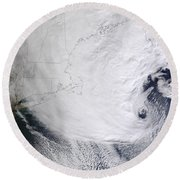 A Winter Storm Over Eastern New England Round Beach Towel by Stocktrek Images
