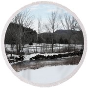 A Wintery Day In Vermont Round Beach Towel