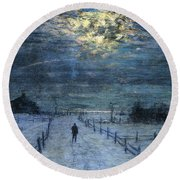 A Wintry Walk Round Beach Towel by Lowell Birge Harrison