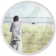 A Woman And The Sea Round Beach Towel by Joana Kruse