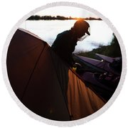 A Woman Exits The Tent At Sunset Round Beach Towel