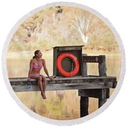 A Woman Is Sitting By A Lake, Mount Round Beach Towel