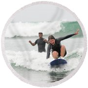 A Woman Learns To Surf Round Beach Towel