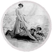 A Woman Rides On Two Friends Round Beach Towel