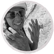 A Woman Rock Climber In Titcomb Basin Round Beach Towel