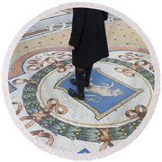 A Woman Rubs Her Heel For Good Luck On The Crest Of The Bull In Galleria Vittorio Emanuele II  Round Beach Towel