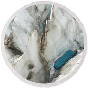 A Woman Sleeping In An Icy Crevasse Round Beach Towel