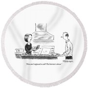 A Woman Stands In The Kitchen Helplessly Round Beach Towel by Pat Byrnes