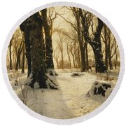 A Wooded Winter Landscape With Deer Round Beach Towel