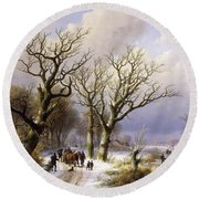 A Wooded Winter Landscape With Figures Round Beach Towel