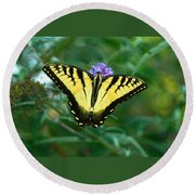 A Yellow Butterfly Round Beach Towel