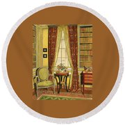 A Yellow Library With A Vase Of Flowers Round Beach Towel