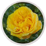 A Yellow Rose Abstract Painting Round Beach Towel