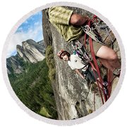 A Young Boy And Climbers In Yosemite Round Beach Towel