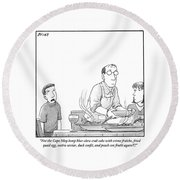 A Young Boy Complains About What's For Dinner Round Beach Towel by Harry Bliss