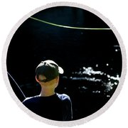 A Young Boy Fly Fishes At Gunpowder Round Beach Towel