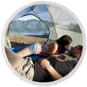 A Young Couple Camping Talk Round Beach Towel