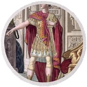 A Young Emperor In His Imperial Armour Round Beach Towel
