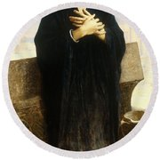 A Young Fellah Girl Round Beach Towel by William Adolphe Bouguereau