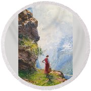 A Young Girl By A Fjord Round Beach Towel