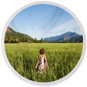 A Young Girl, Daughter Of A Farmer Round Beach Towel