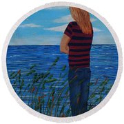 A Young Girl Dreaming Round Beach Towel