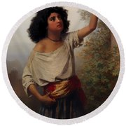 A Young Gypsy Woman With Tambourine  Round Beach Towel