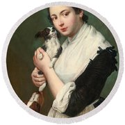 A Young Lady With Two Dogs Round Beach Towel