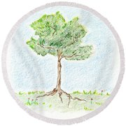A Young Tree Round Beach Towel
