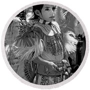 A Young Warrior - B W Round Beach Towel