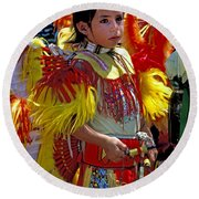 A Young Warrior Round Beach Towel