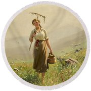 A Young Woman In The Meadow Round Beach Towel