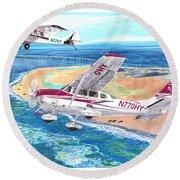 Cessna 206 And A1a Husky Round Beach Towel